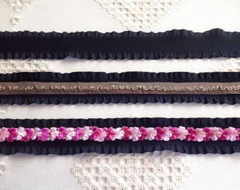 3 yds Faux Suede Black Ruffled Trim at 1-1/2 inch Wide for Quilting, Hair Accessories Scrapbooking Quilting Collage