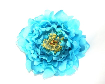 OVERSTOCK CLEARANCE:  Turquoise Aqua Blue Scalloped Peony - 5 inches -- Silk Artificial Flower. was 4.75