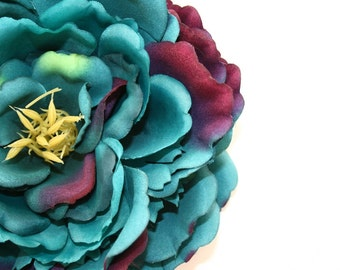 Extra Large Peony in Teal Tones and Magenta - Silk flowers, artificial flowers, artificial flower, silk flower - ITEM 0395