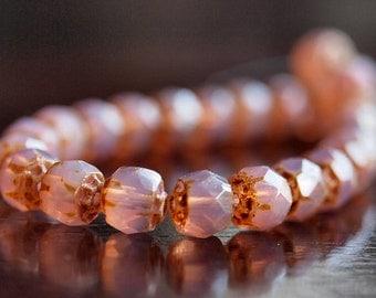 Czech Glass Bead Milky Pink 6mm Renaissance : 25 pc Pink Renaissance