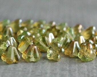 Chrysolite Celsian Czech Glass 4x6mm Baby Bell Flower Beads : 30 pc