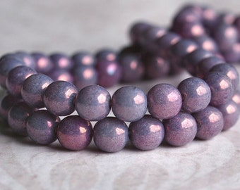 Lilac Luster 6mm Czech Glass Druk Opaque Amethyst Bead :  50 pc 6mm Amethyst Luster