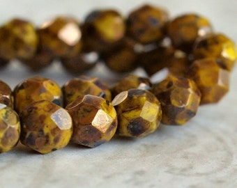 6mm Faceted Yellow Bronze Picasso Czech Glass Bead Round : 25 pc Full Strand