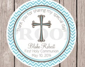 Baptism Favor Tags or Stickers / Blue & Gray Stickers for First Holy Communion, Christening, Baby Dedication / Chevron / Set of 12