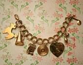 1950s Gold Tone Teen Charm Bracelet