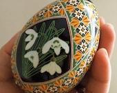 Snowdrops Pysanka Batik Ukrainian Style Easter Egg Art EBSQ Plus So Jeo