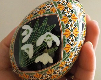 Snowdrops Pysanka Batik Ukrainian Style Easter Egg Art EBSQ Plus So Jeo