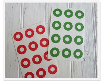 Red or Green, 144 Hole Reinforcements, Stickers, Holiday Scrapbooking