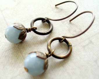 Blue Gemstone Boho Earrings Long Dangle Earrings Blue Drop Earrings Vintage Style Jewelry for Her Light Blue Earrings Bridesmaid Earrings