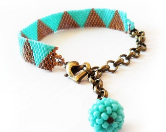 Triangle Bracelet with Bronze and Blue Glass Beads - Beadwork Bracelet - Dicope Soul Ashley Bracelet