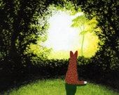 Red Australian Cattle Dog Art PRINT Todd Young painting FOREST LIGHT
