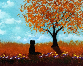 Black Lab Dog Folk Art print by Todd Young CRISP FALL DAY