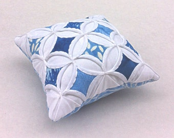 25% Off Pincushion Blue Batik Mini Cathedral Window Pillow Blue - 5 Inches Square