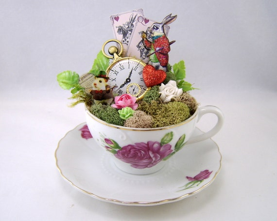 Items similar to white rabbits tea cup centerpiece or cake