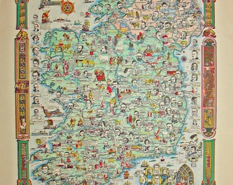 Antique Story Map Of Ireland
