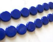 Dark Blue Opaque Czech Glass Beads 10mm Coin Flat Round 20pcs