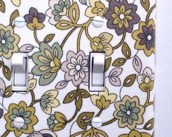 Double Standard Fabric Light Switch Plate Cover - green and tan floral - paisley, natural, nature, flowers