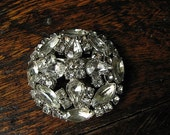 Vintage Antique Large Round Rhinestone Brooch Pin