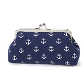 Navy White Nautical Anchor Clutch/Navy Blue White Wedding Accessory/Nautical Purse