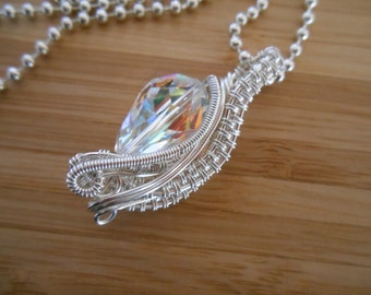 Swarovski AB Crystal Faceted Drop Bead Wire Wrapped in Silver Parawire Pendant Wire Wrapped Jewelry Handmade