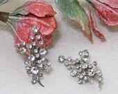 Vintage 1950's Clear Sparkling Rhinestone Spray silver Tone Clip Earrings