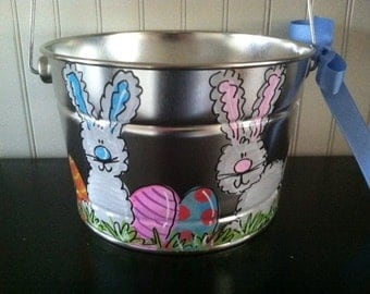 Adorable personalized Easter bucket Easter Basket - hand painted with rabbits and eggs - small