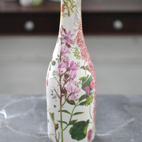 Items similar to botanical flower vase upcycled wine for Wine bottle flower vase