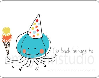 Octopus Bookplates - This Book Belongs To Labels Set of 15