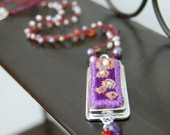 Nesting Pearls Necklace - purple and orange - needlepoint pendant - bead crochet -