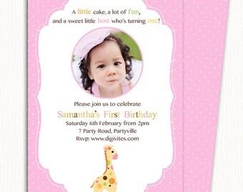 Einladung Geburtstag Foto / 1. Geburtstag Einladung/Mädchen Geburtstag  Einladung /