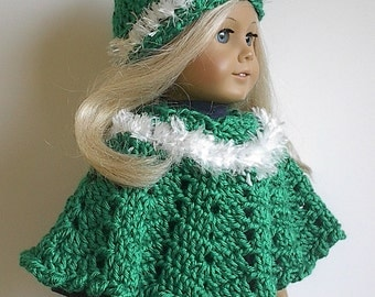 18 Inch Doll Clothes - Crocheted Green Poncho and Hat Set with White Trim made to fit the American Girl Doll and Ready to Ship