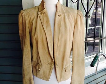 Vintage 1980's Suede bohemian chic leather jacket womens size small