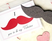 24 Mustache Valentines Cards - Kids Plantable Seed Paper School Party - Valentine's Day Card Set