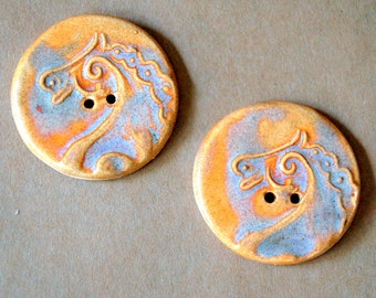 2 extra large horse buttons - 1.5 inches in diameter - Autumn orange glaze