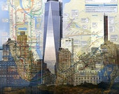 New York City Landmarks with Subway Map Skyline Cityscape Landscape Architecture Buildings Giclee Prints