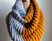 Super Snuggly chunky knit cowl Amber. Grey. Infinity scarf.