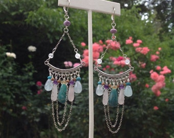 Multi Stone - Sterling silver Fringe Large Dangle Earrings