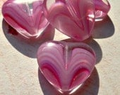 New Czech Large 22x24mm Pink and White Swirl Heart Glass Focal Beads (17-14B-4)