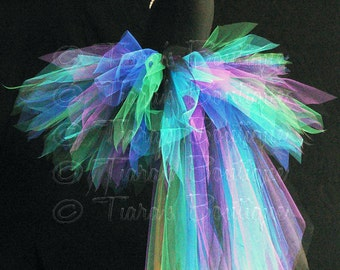 Peacock Tutu with Bustle - Children's Custom Sewn 13'' Pixie Tutu with Attached 24'' 3 Tiered Pixie Tutu Bustle - children's sizes 6 to 8