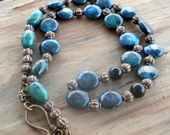 Chrysocolla and Malachite Round Bead Necklace 18 Inches with Bronze Beads