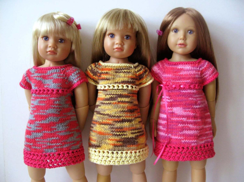 Knitting Patterns For Kidz N Cats Dolls : SUMMER TWIGGY Dress slim 18 inch doll Kidz n Cats Knitting