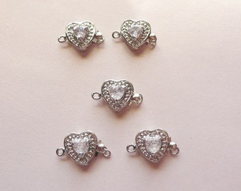 Set of Five Heart Box Clasps with Rhinestones