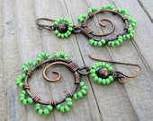 Bead Dance - wire wrapped antiqued copper hoops earrings with seed beaded petals in bright lime green