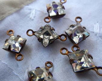 Crystal Clear Vintage Swarovski Square 6x6mm Glass Connectors Two Loops 6 Pcs