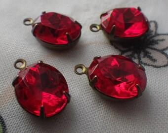 Swarovski Light Siam Ruby 12x10mm Oval Brass Ox Glass Drops 4 Pcs