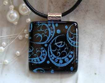 Dichroic Fused Glass Pendant, Glass Jewelry, Cobalt Blue, Black, Necklace Included