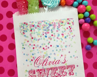 1st Birthday Candy Bags, Confetti favor bags, Candy favor bags, Baby's 1st Birthday, Pink, Little birl, Favor bags, Sweets, Treat bags