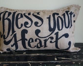Bless Your Heart Burlap Qunicy Pillow - fall - housewarming - prayer list