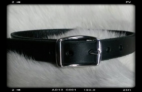 1/2 Black Leather Plain Collar for Cat or Dog Pet