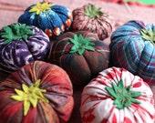 blue/red madras hand-stitched tomato pincushion
